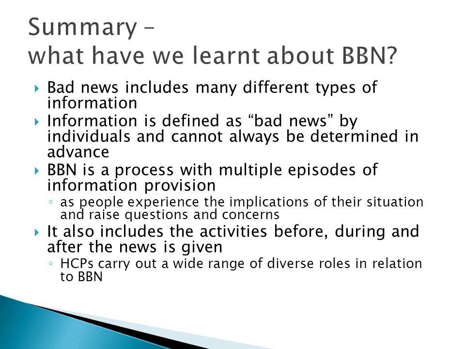 Summary – what have we learnt about BBN