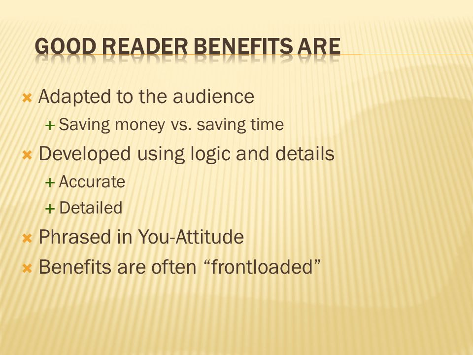 Good Reader Benefits are