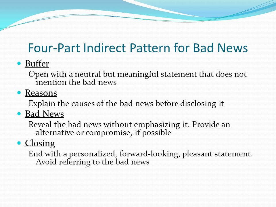 Four-Part Indirect Pattern for Bad News