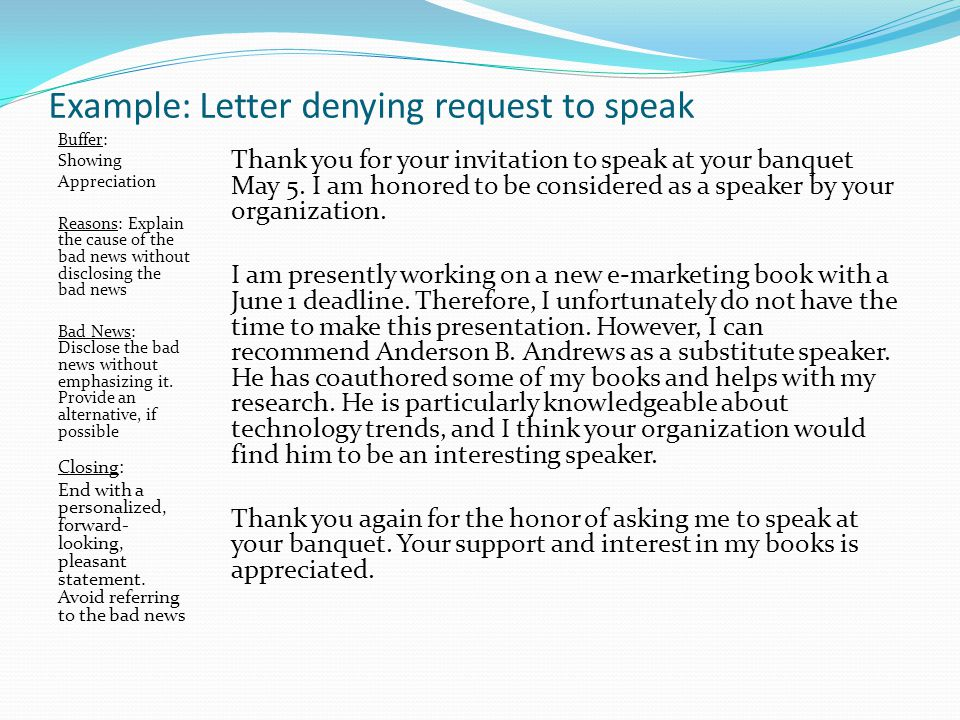 Example: Letter denying request to speak