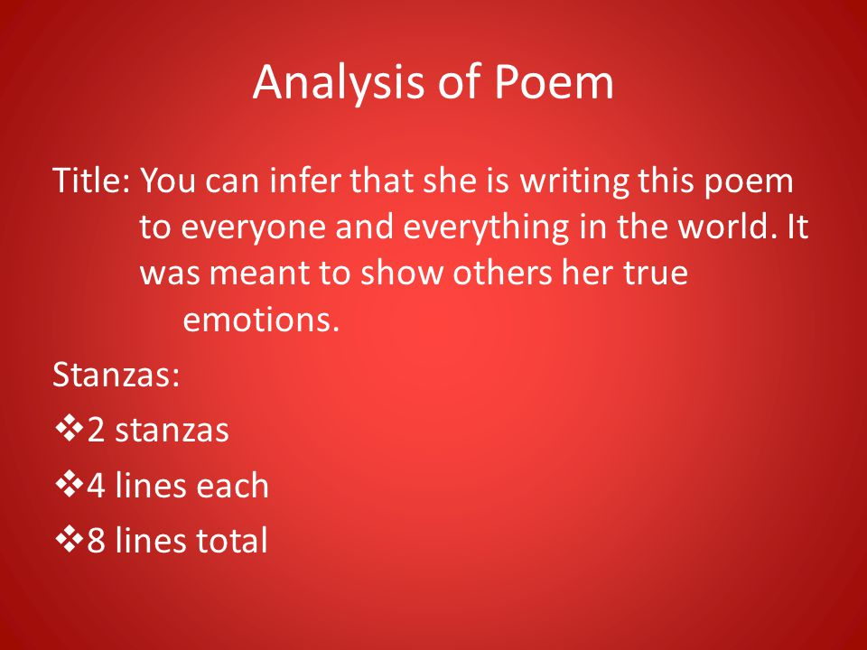 Analysis of Poem