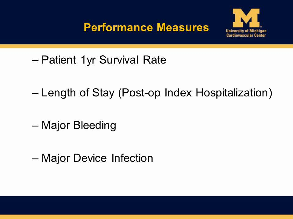 Performance Measures Patient 1yr Survival Rate. Length of Stay (Post-op Index Hospitalization) Major Bleeding.