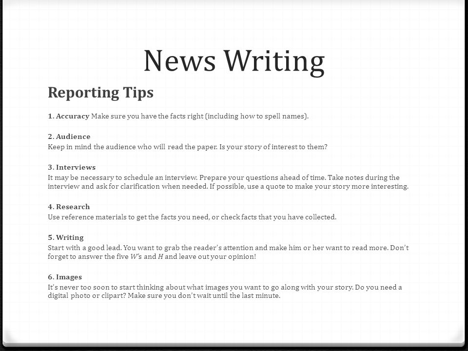 News Writing Reporting Tips