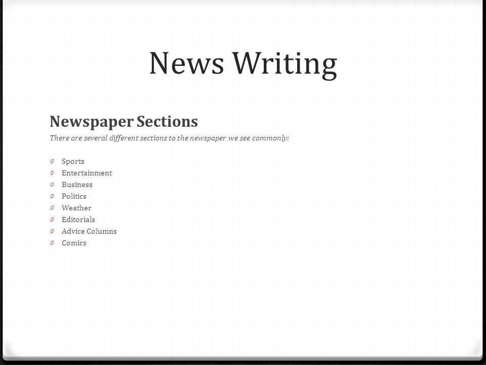 News Writing Newspaper Sections