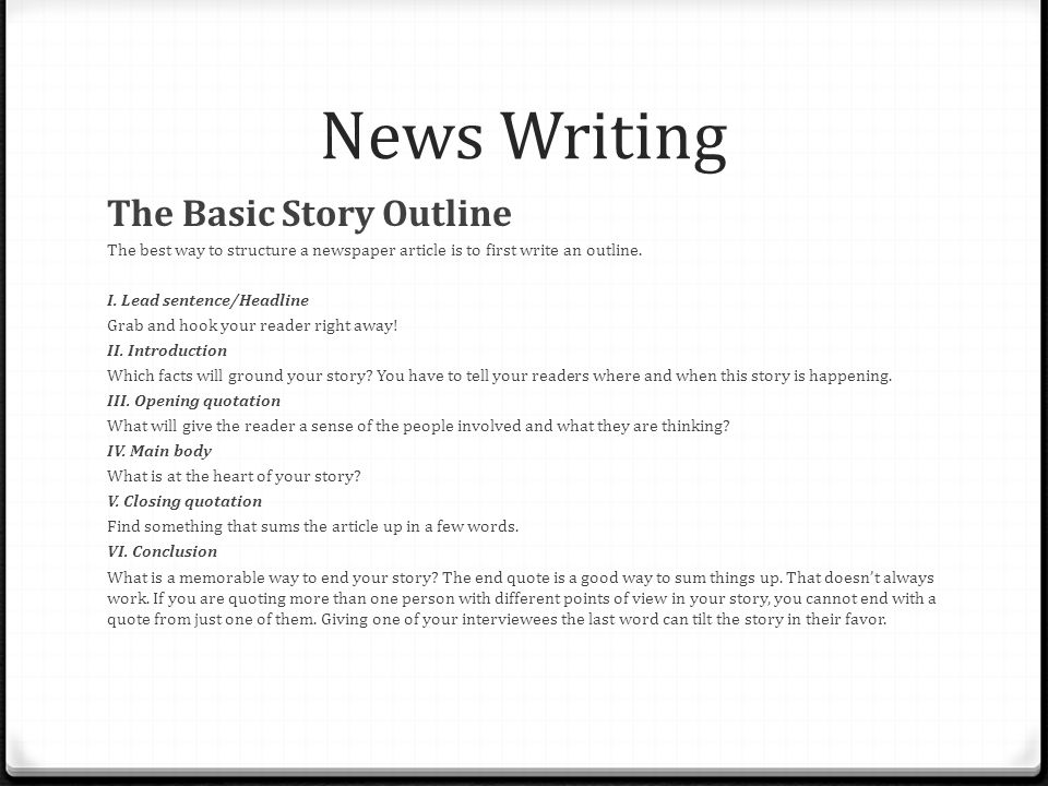 Writing News Stories - PowerPoint PPT Presentation