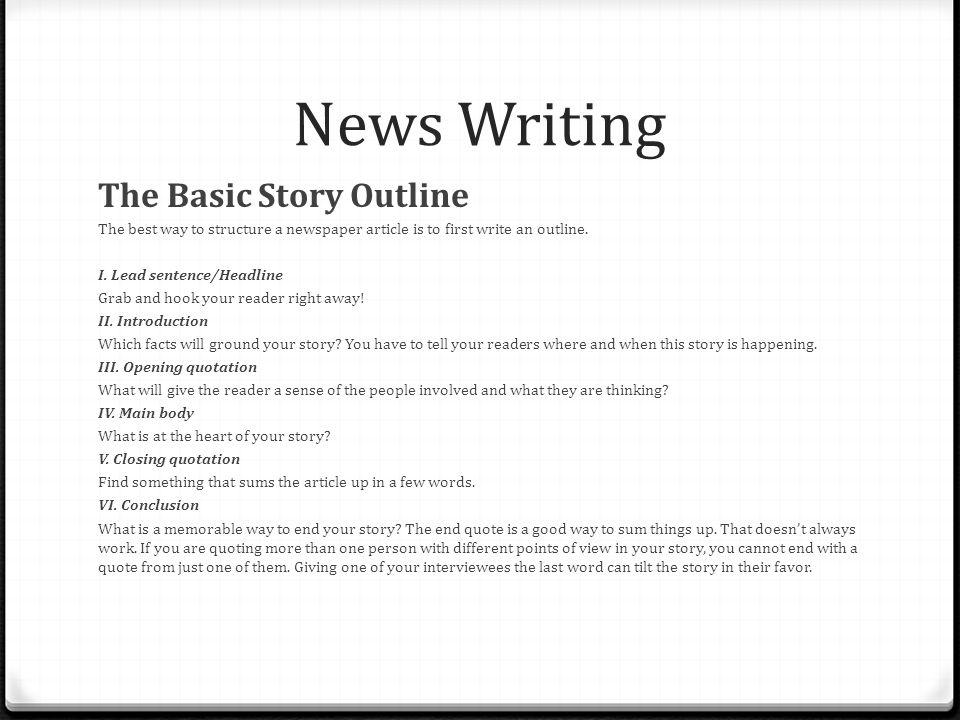 how to write a proper news report