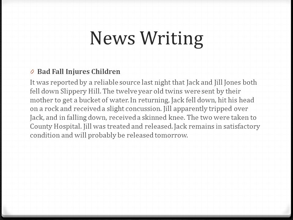 News Writing Bad Fall Injures Children