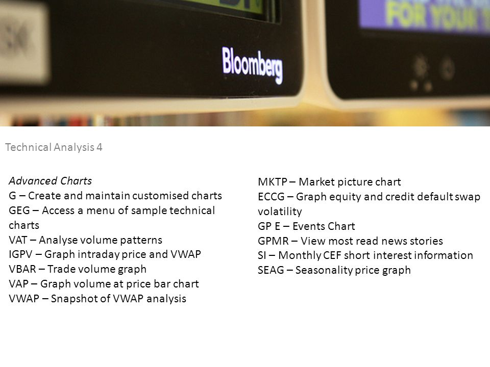 Technical Analysis 4 Advanced Charts. G – Create and maintain customised charts. GEG – Access a menu of sample technical.