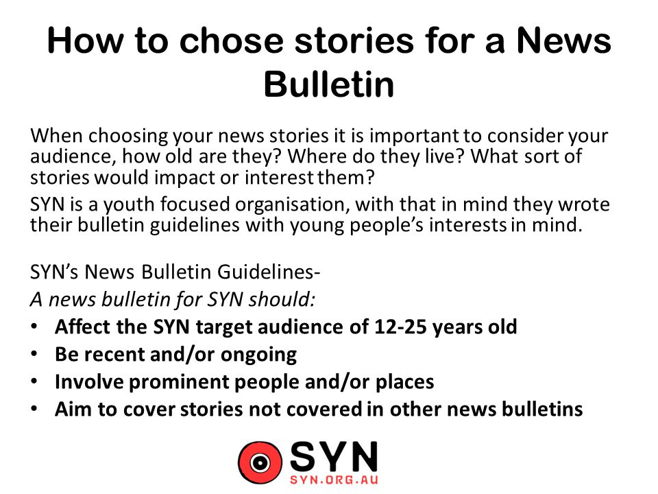 How to chose stories for a News Bulletin