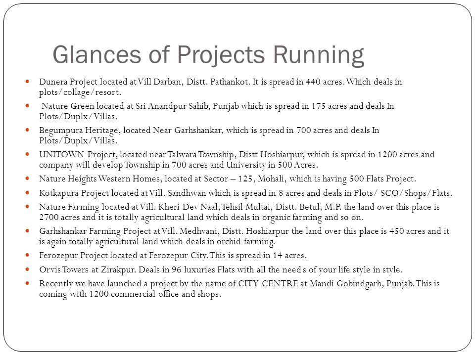 Glances of Projects Running