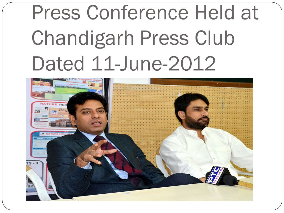 Press Conference Held at Chandigarh Press Club Dated 11-June-2012