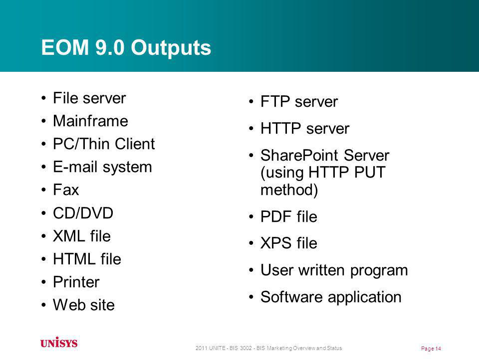 EOM 9.0 Outputs File server Mainframe PC/Thin Client E-mail system Fax