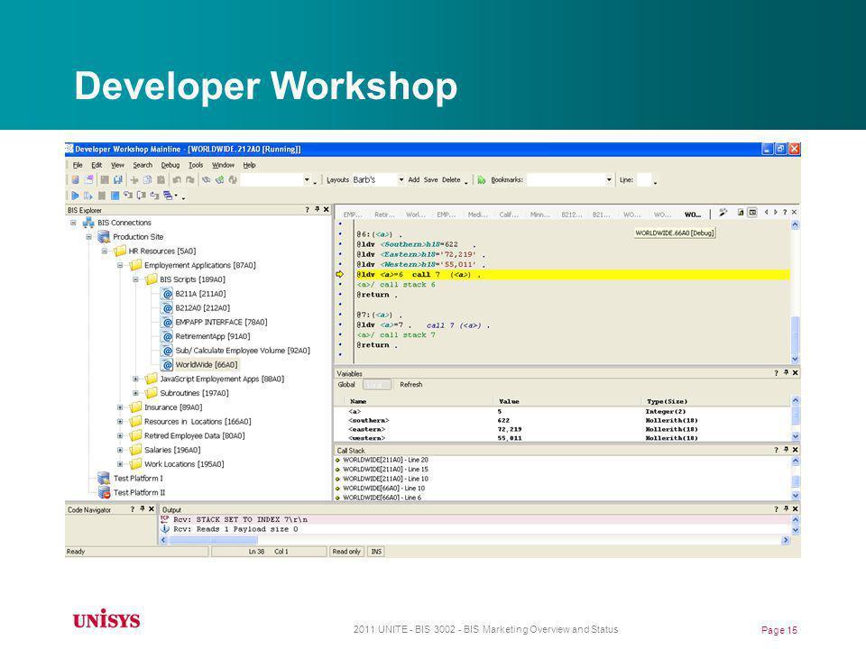 Developer Workshop 2011 UNITE - BIS 3002 - BIS Marketing Overview and Status