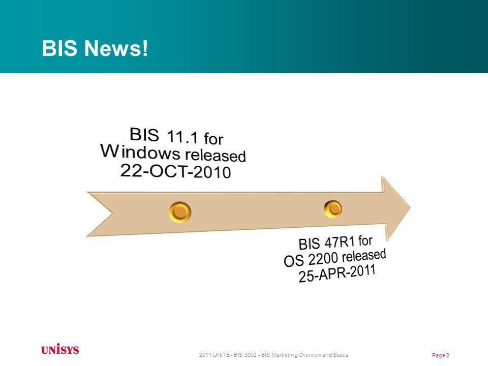 BIS News! BIS 11.1 for Windows released 22-OCT-2010