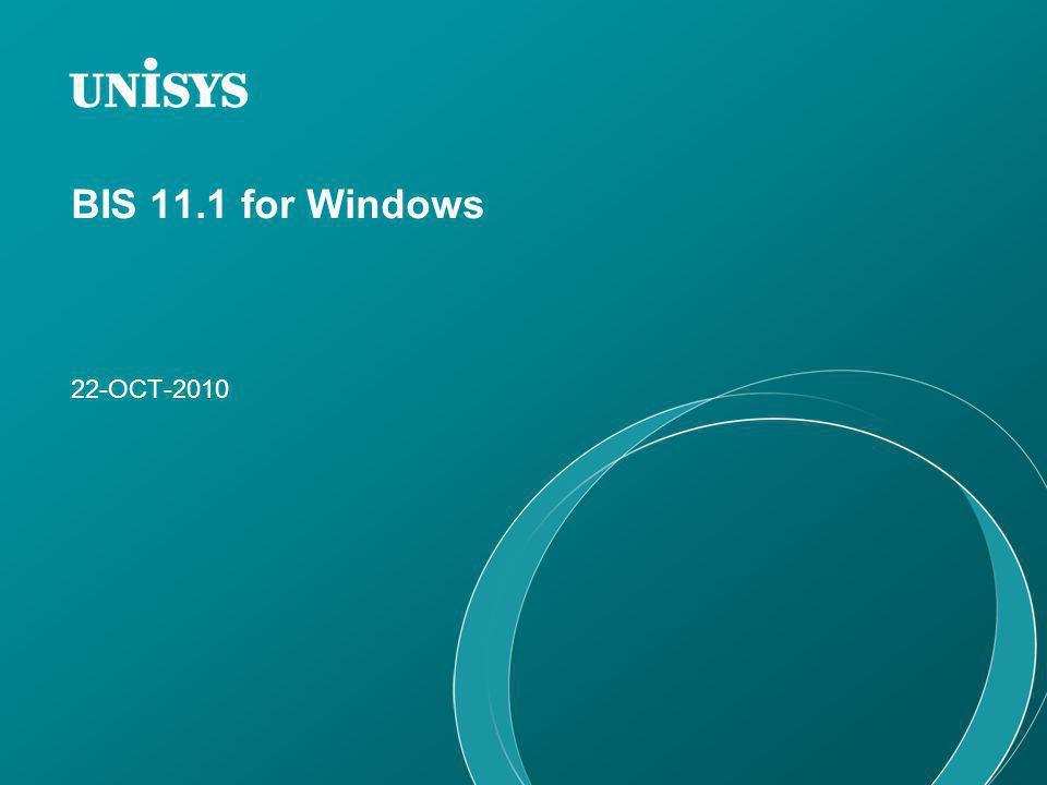 BIS 11.1 for Windows 22-OCT-2010