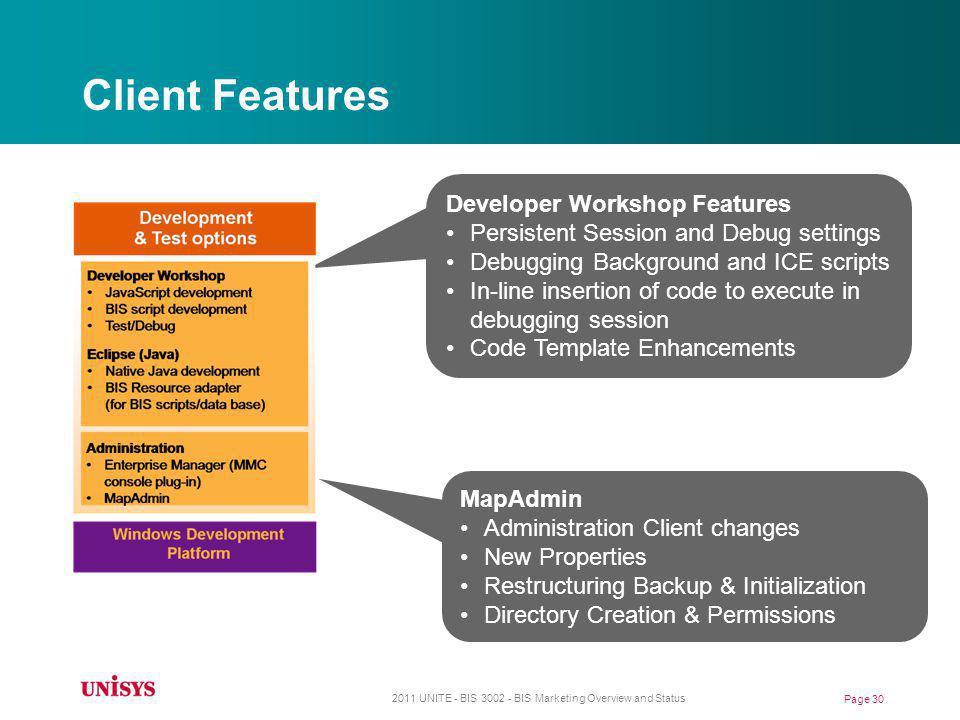Client Features Developer Workshop Features