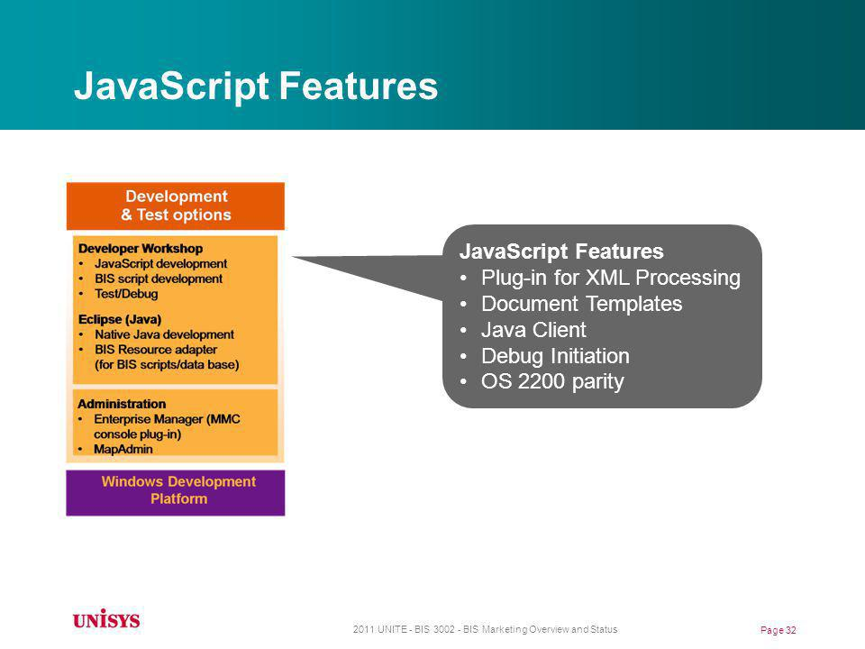 JavaScript Features JavaScript Features Plug-in for XML Processing