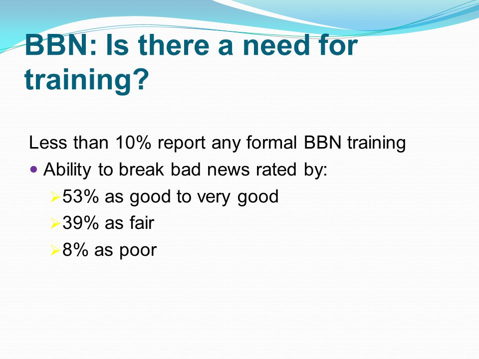 BBN: Is there a need for training