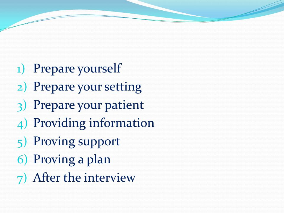 Prepare yourself Prepare your setting. Prepare your patient. Providing information. Proving support.