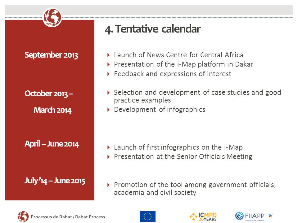4. Tentative calendar September 2013 October 2013 – March 2014