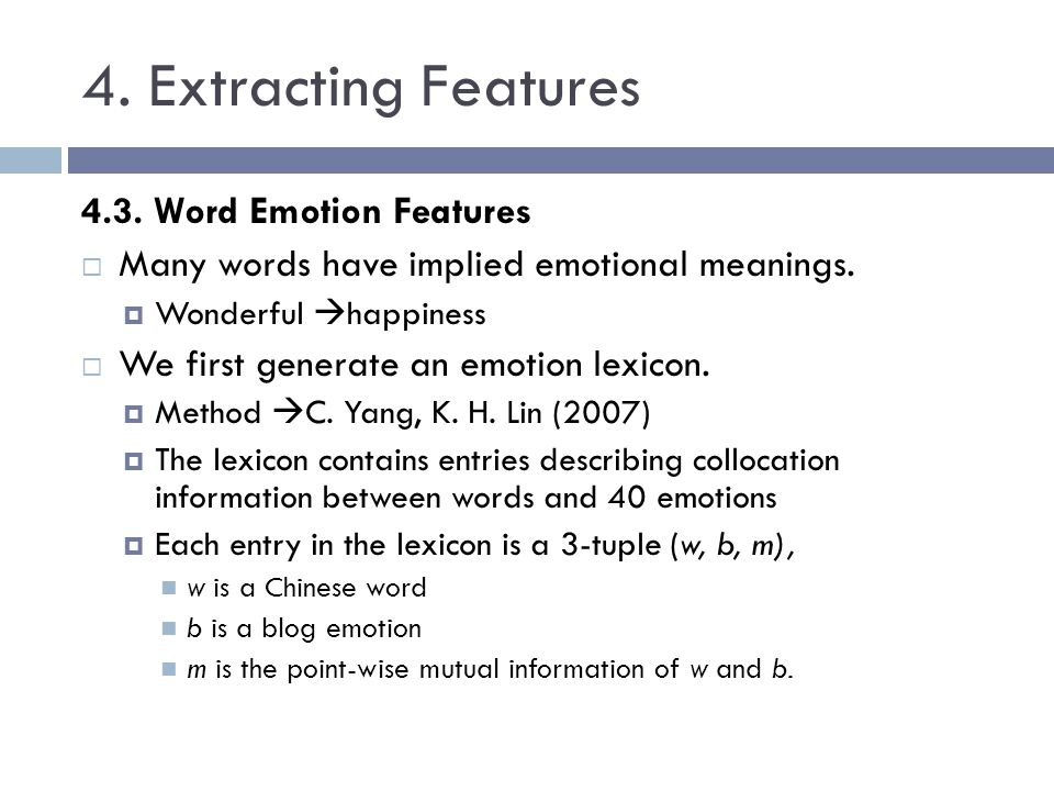 4. Extracting Features 4.3. Word Emotion Features