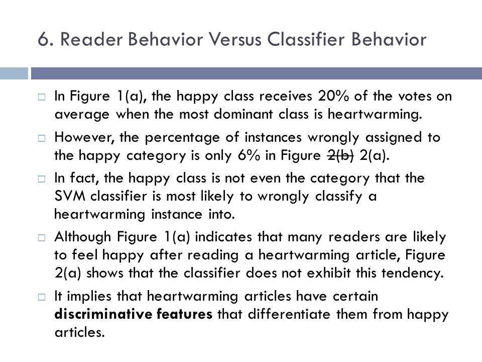 6. Reader Behavior Versus Classifier Behavior