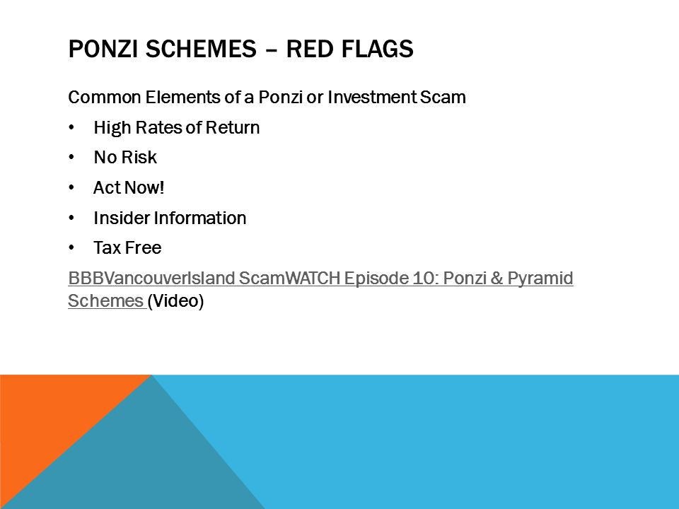 Ponzi SchemeS – Red Flags