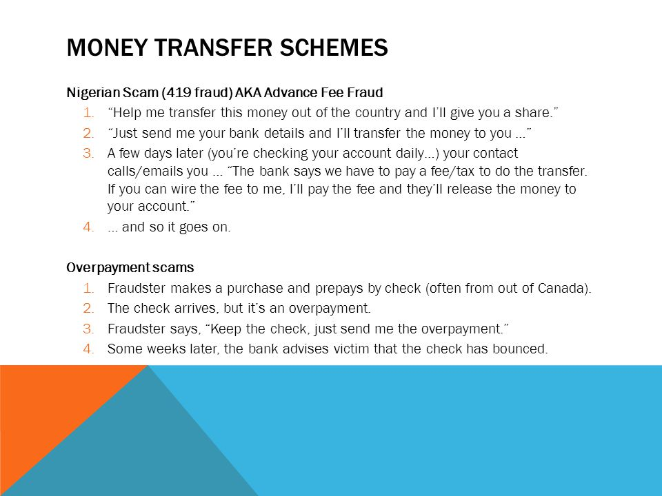 Money Transfer Schemes