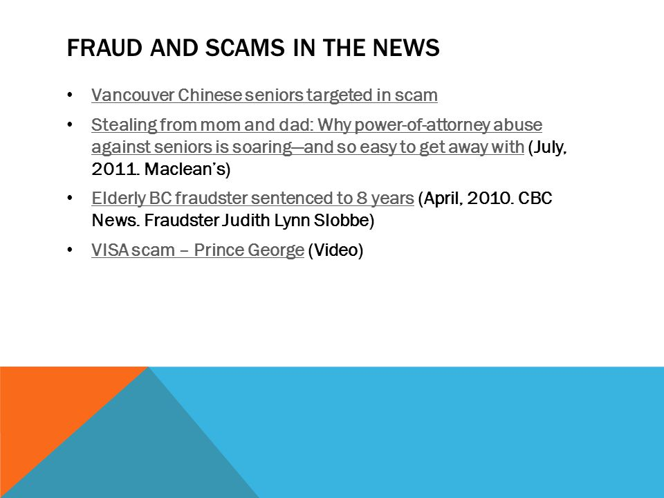 Fraud and Scams in the news