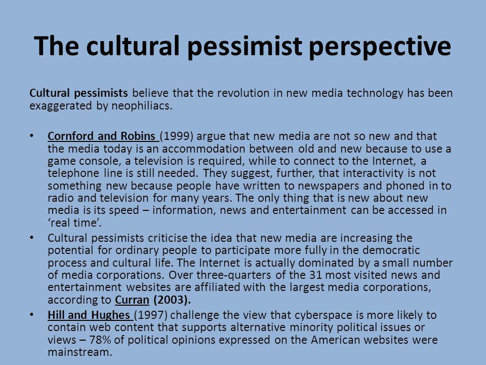 The cultural pessimist perspective
