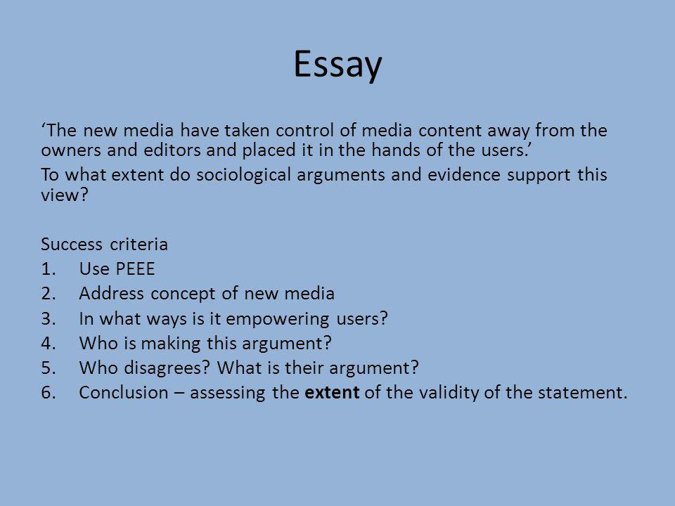 new media essay questions Mass media summary essay mass media summary and over other 29,000+ free term yes, new media has caught on because it is simple to use and easy similar topics.