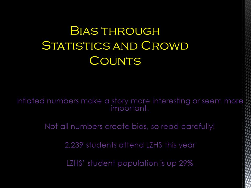 Bias through Statistics and Crowd Counts