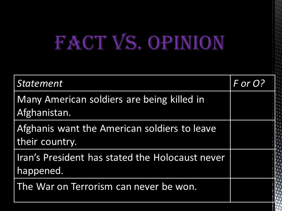 FACT VS. OPINION Statement F or O