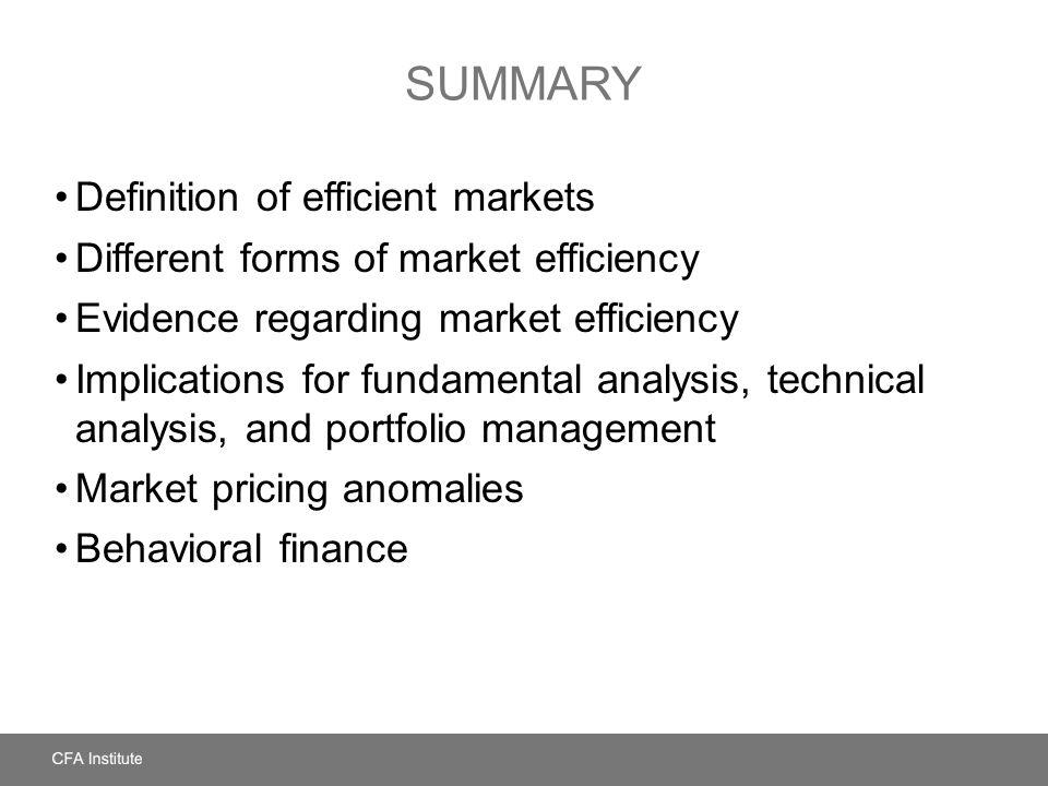 High Quality Summary Definition Of Efficient Markets