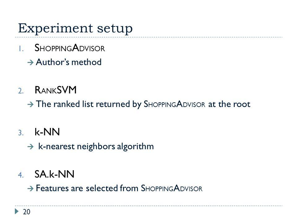 Experiment setup SHOPPINGADVISOR RANKSVM k-NN SA.k-NN Author's method