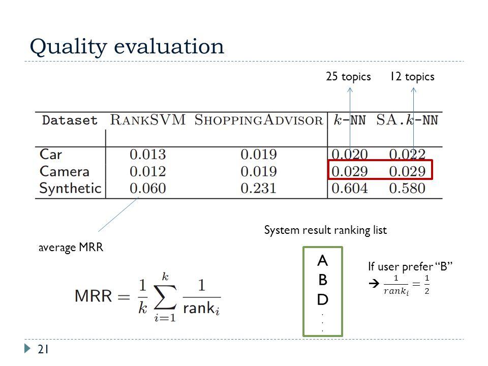 Quality evaluation A B D 25 topics 12 topics