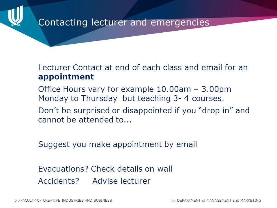 Contacting lecturer and emergencies