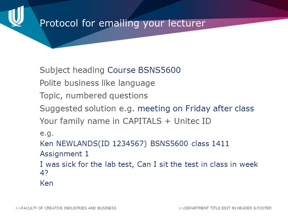 Protocol for emailing your lecturer