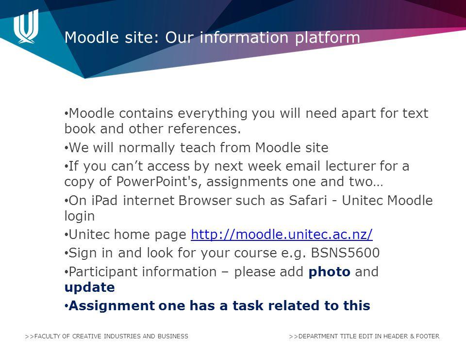 Moodle site: Our information platform