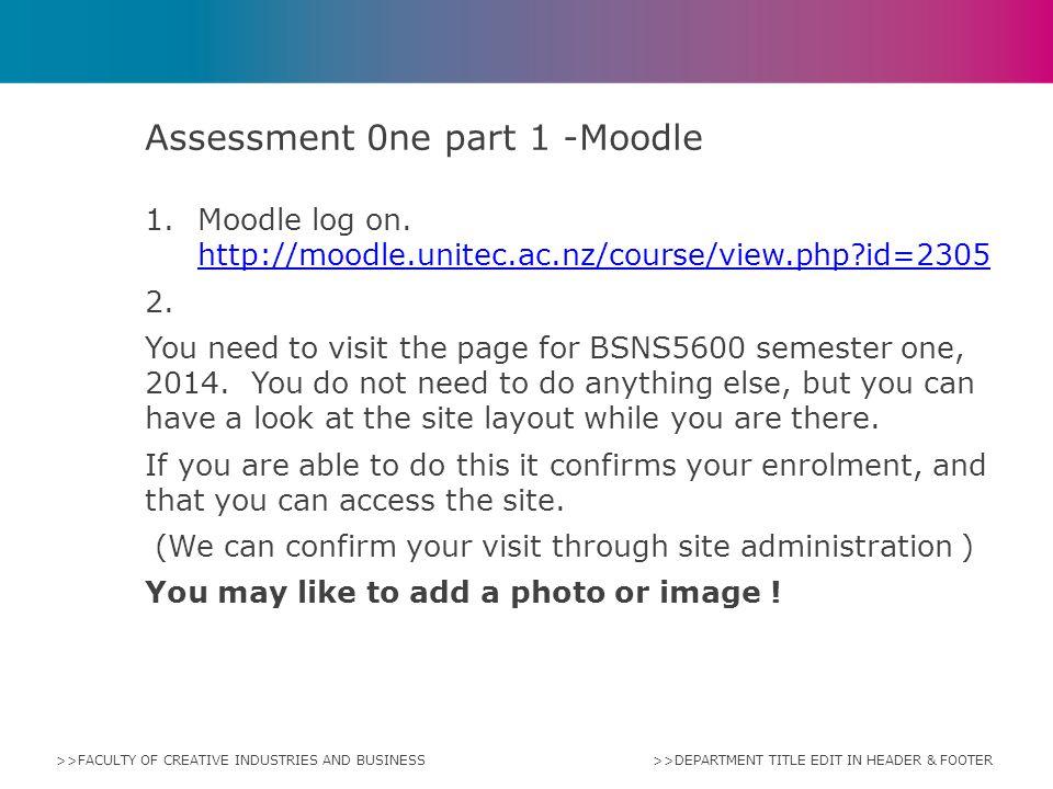 Assessment 0ne part 1 -Moodle