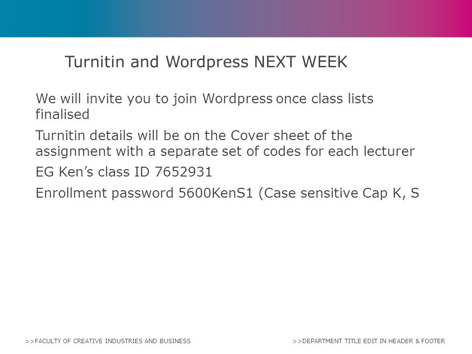 Turnitin and Wordpress NEXT WEEK