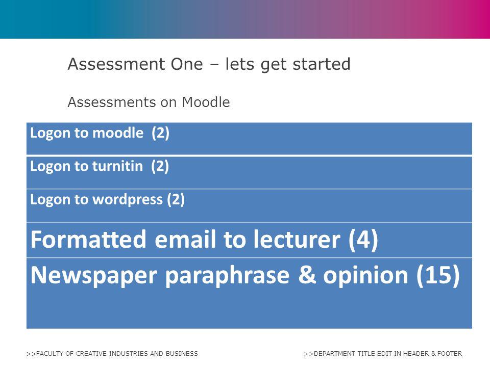 Assessment One – lets get started