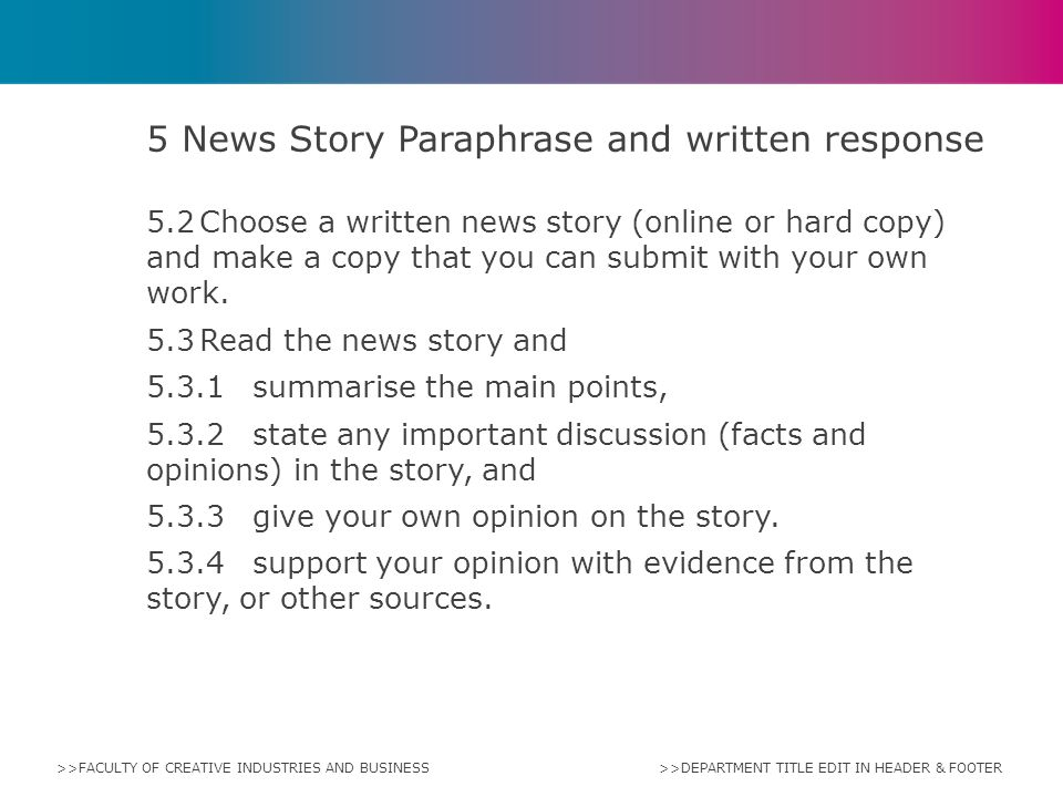 5 News Story Paraphrase and written response