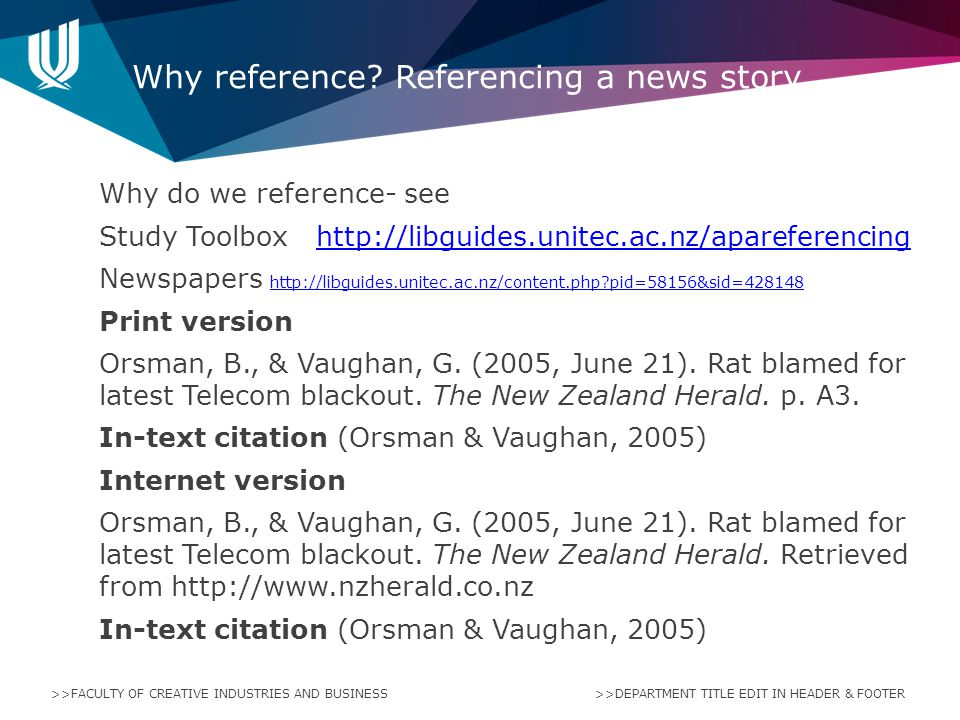 Why reference Referencing a news story