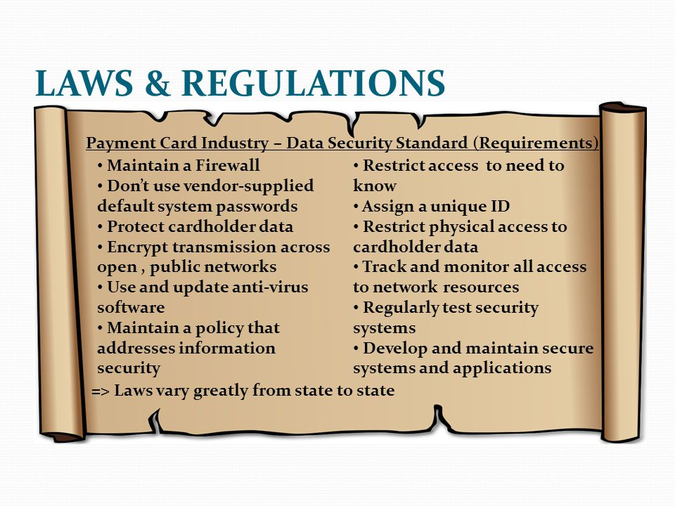 LAWS & REGULATIONS Payment Card Industry – Data Security Standard (Requirements) Maintain a Firewall.