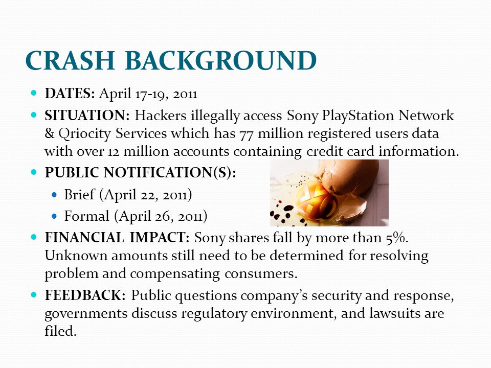 CRASH BACKGROUND DATES: April 17-19, 2011