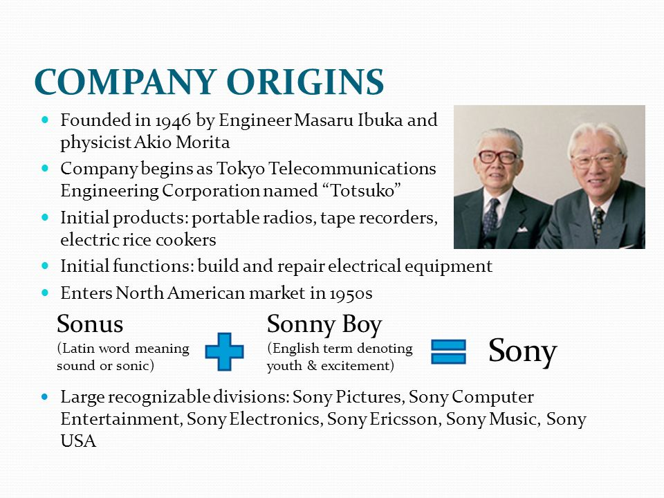 COMPANY ORIGINS Sony Sonus Sonny Boy