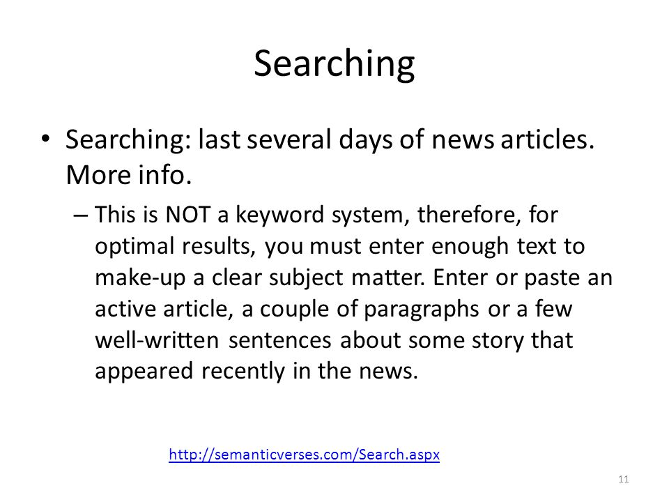Searching Searching: last several days of news articles. More info.