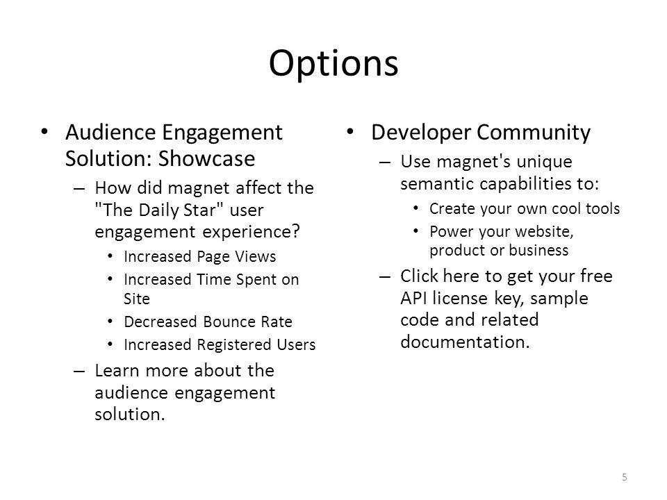 Options Audience Engagement Solution: Showcase Developer Community