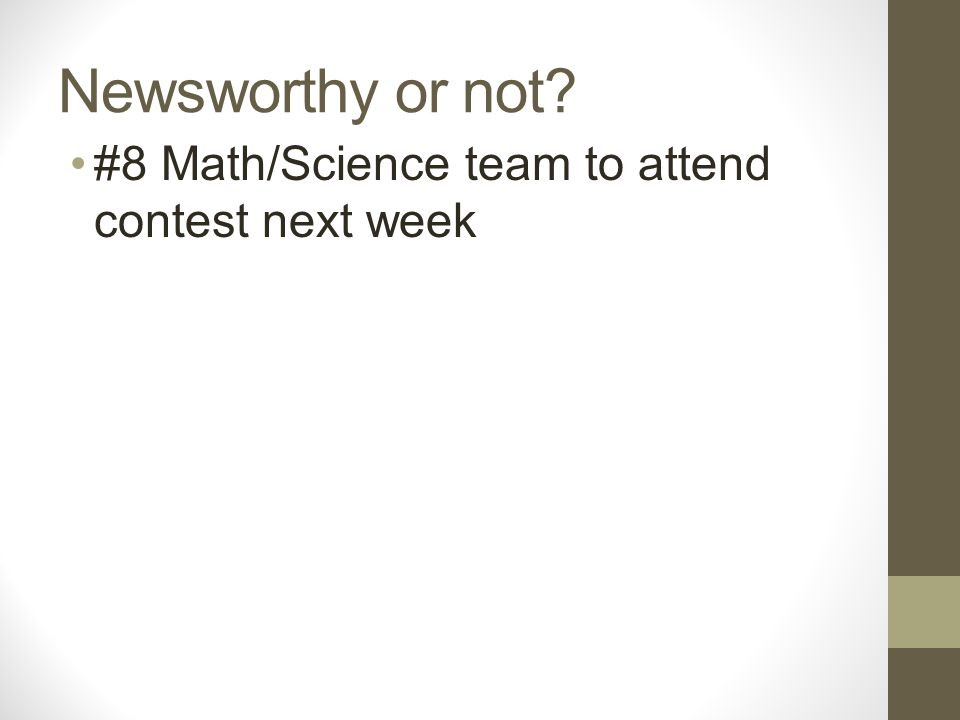 Newsworthy or not #8 Math/Science team to attend contest next week